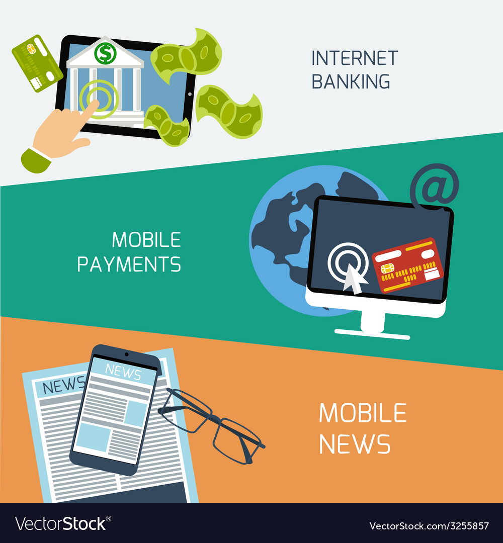 Mobile news payments and internet banking concept vector | Price: 1 Credit (USD $1)