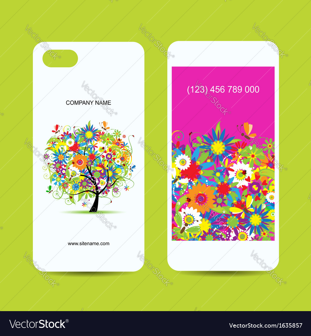 Mobile phone cover back and screen floral tree for vector | Price: 1 Credit (USD $1)