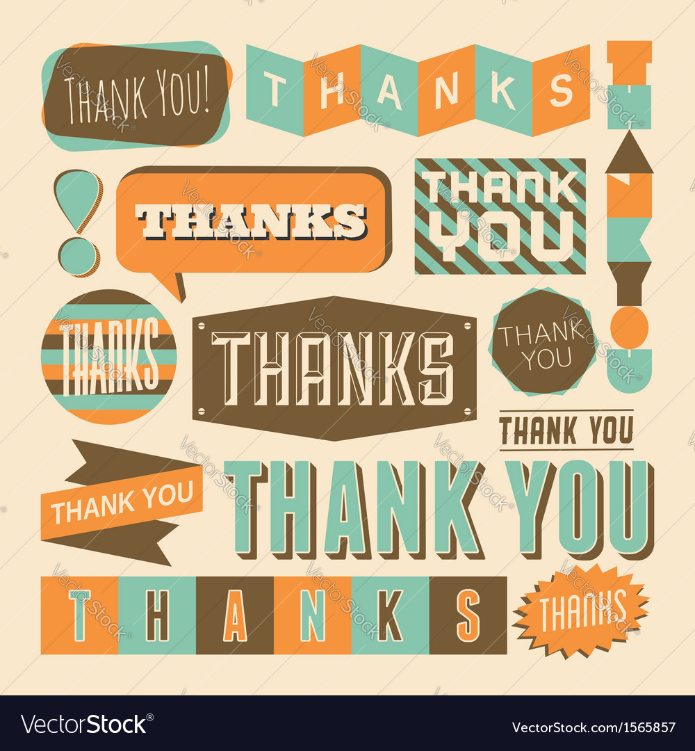Retro style thank you design elements collection vector | Price: 1 Credit (USD $1)