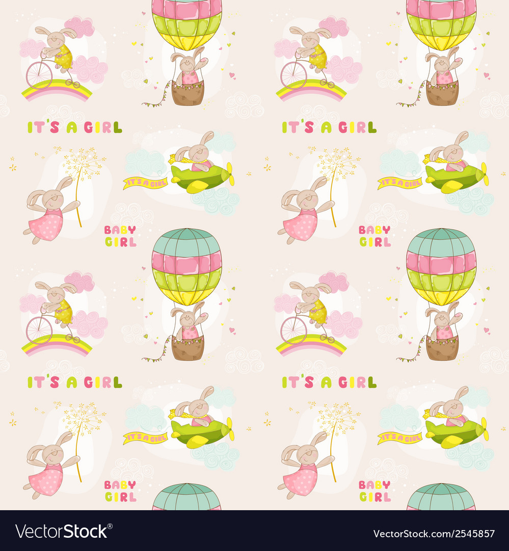 Seamless baby bunny background vector | Price: 1 Credit (USD $1)