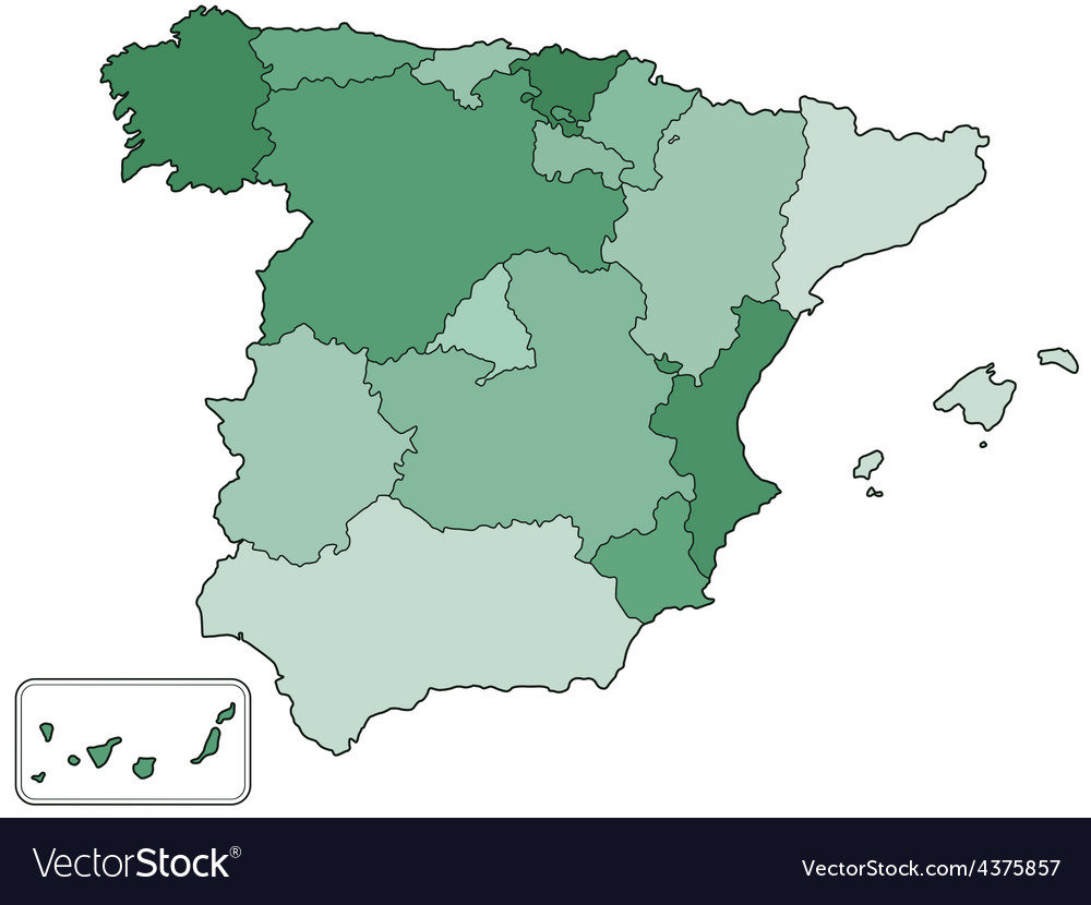 Spain contour map vector | Price: 1 Credit (USD $1)