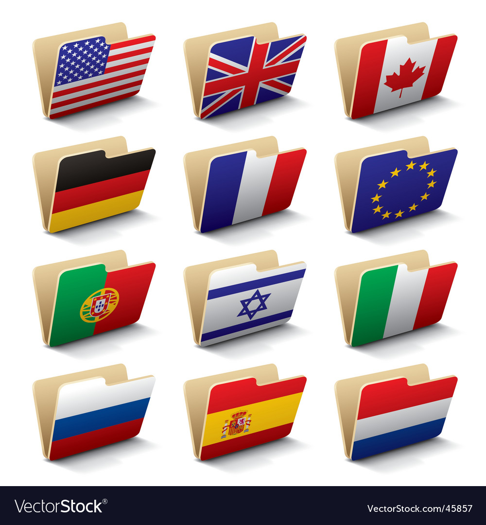 World folders icons vector | Price: 1 Credit (USD $1)
