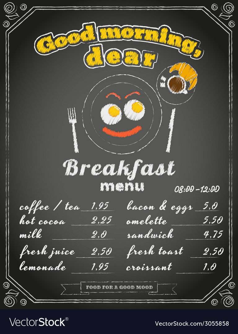 Breakfast menu on the chalkboard vector | Price: 1 Credit (USD $1)