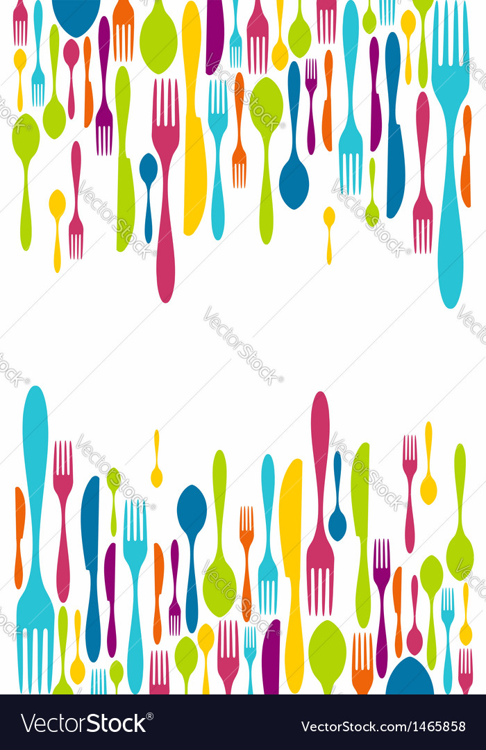 Cutlery silhouette icons background vector | Price: 1 Credit (USD $1)