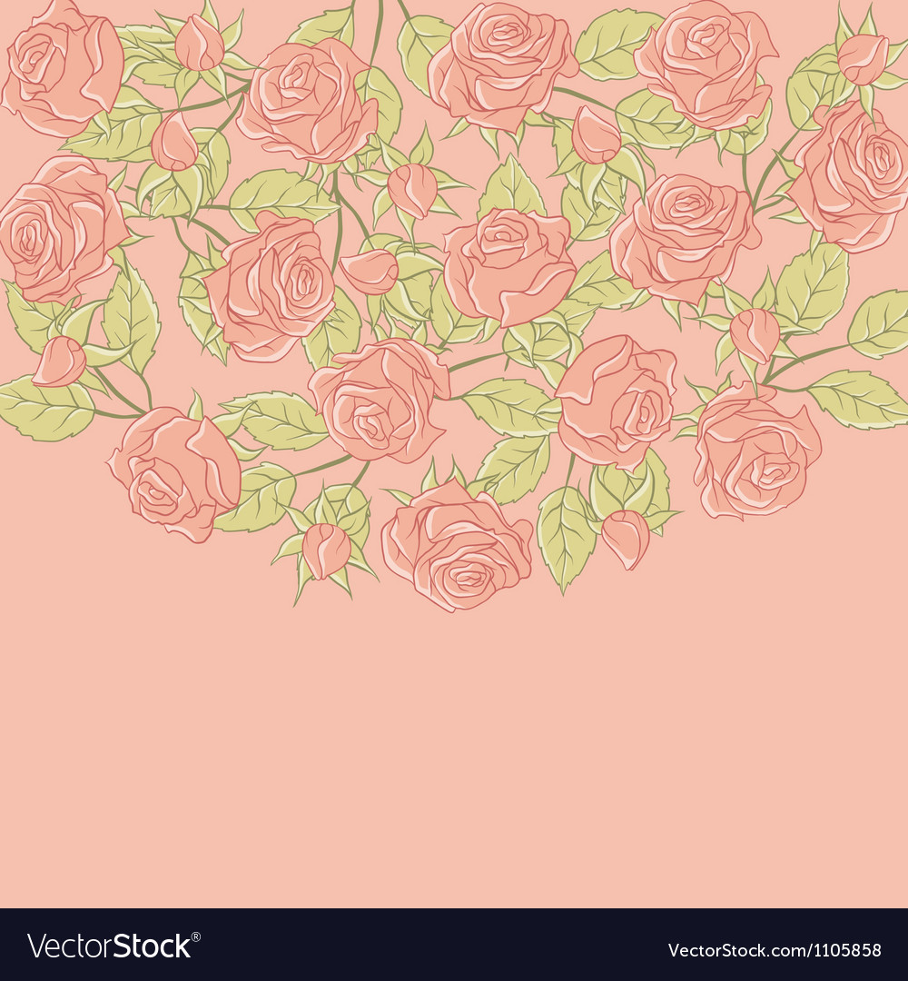Floral background with rose in pastel tones vector | Price: 1 Credit (USD $1)