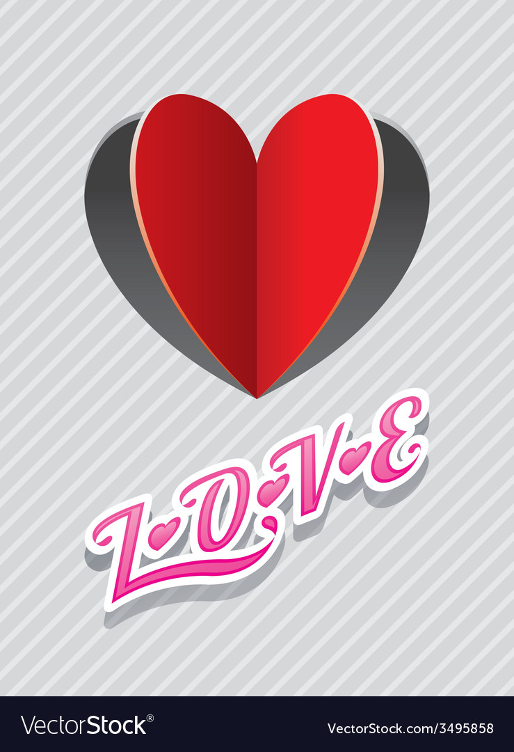 Heart shape paper cut background and love text vector | Price: 1 Credit (USD $1)