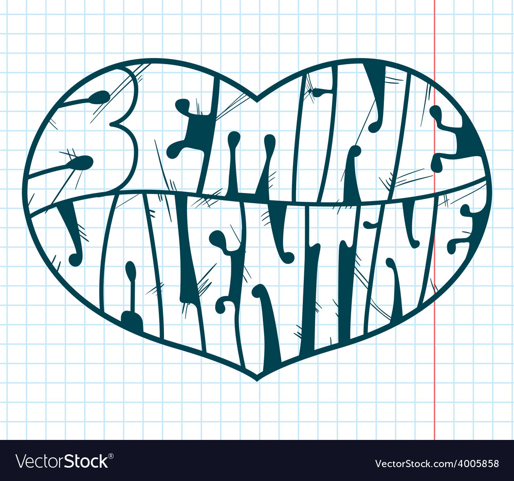 Heart with lettering vector | Price: 1 Credit (USD $1)