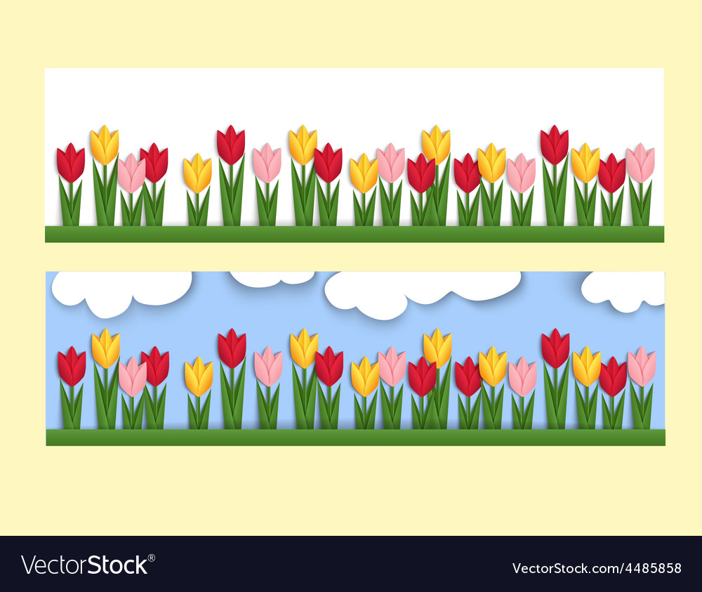 Horizontal banner with paper tulips vector