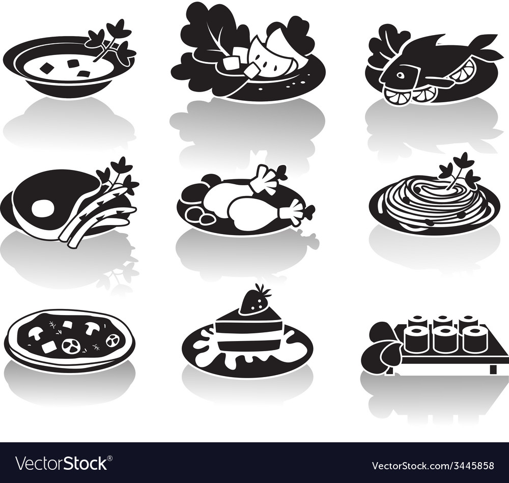 Hot dishes desserts sushi salads and soups vector | Price: 1 Credit (USD $1)