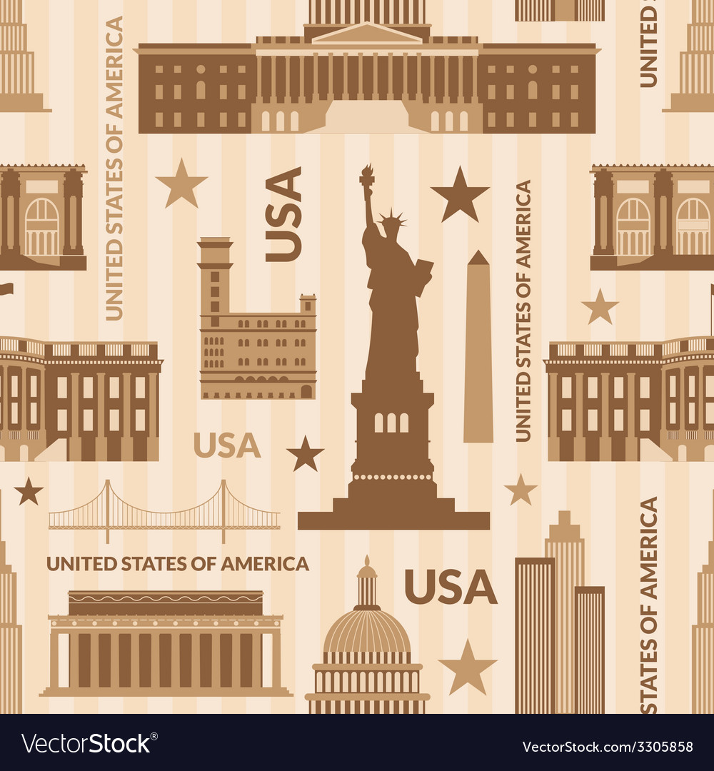Landmarks of united states of america seamless vector | Price: 1 Credit (USD $1)
