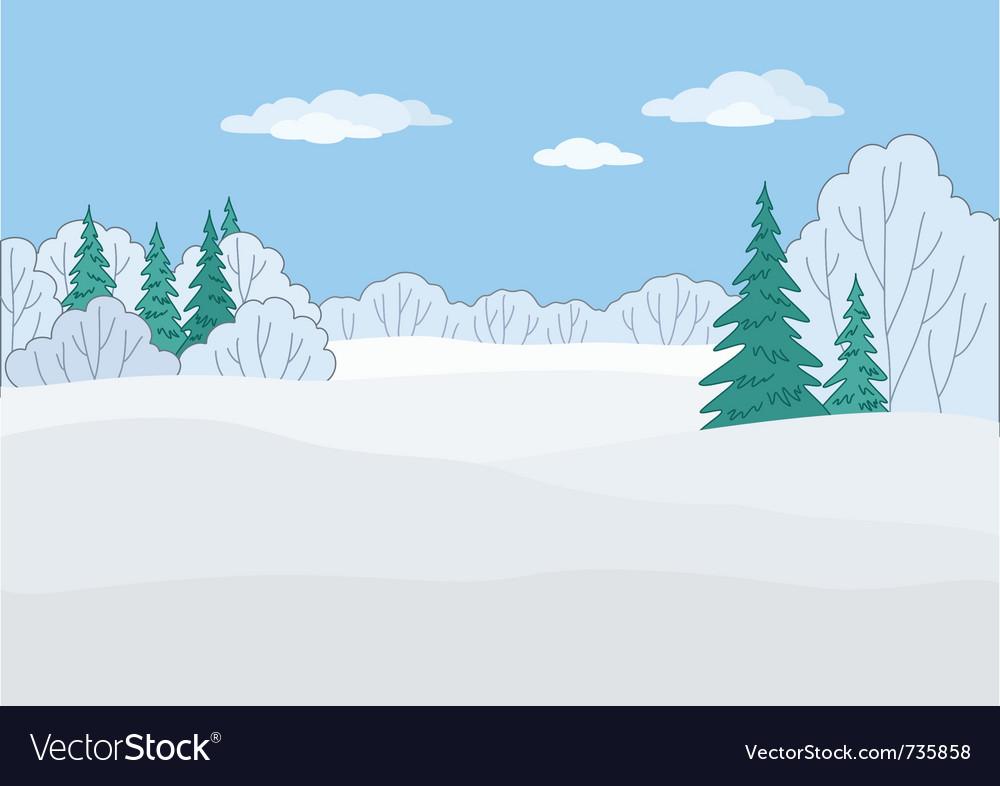 Landscape winter forest vector | Price: 1 Credit (USD $1)