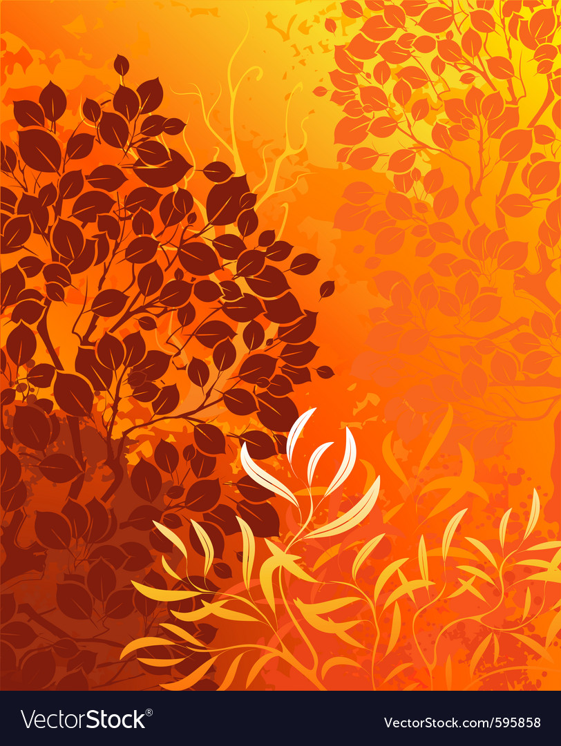 Orange background with bright autumn aspens and de vector | Price: 1 Credit (USD $1)