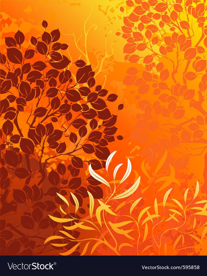 Orange background with bright autumn aspens and de vector | Price: 1 Credit (USD $1)