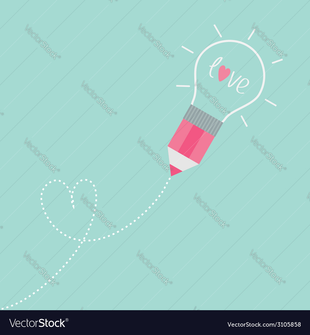Pencil light bulb dash line heart love vector | Price: 1 Credit (USD $1)