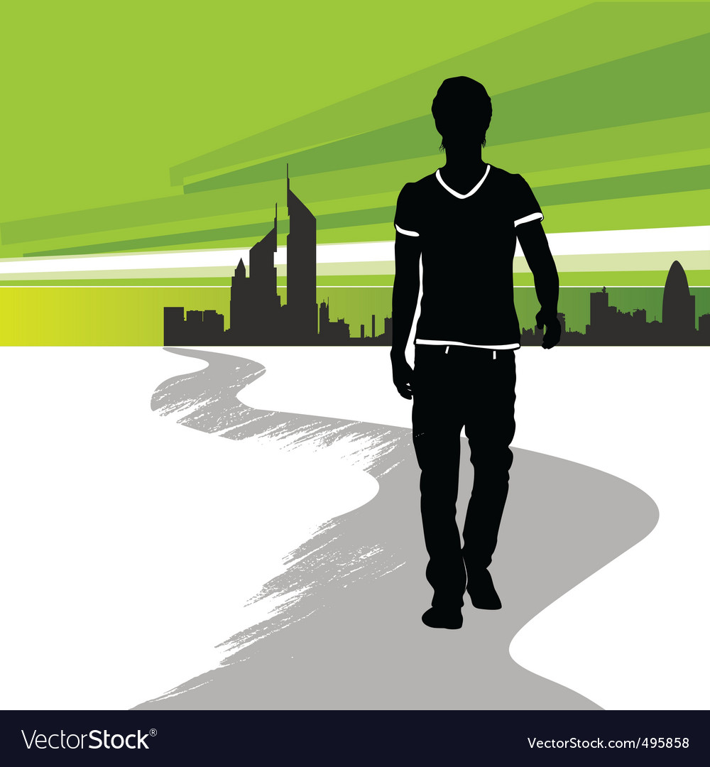 Running man in the city vector | Price: 1 Credit (USD $1)
