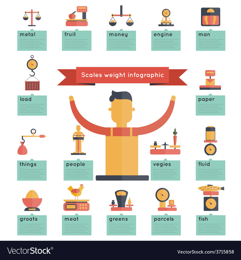 Scales weight infographics vector | Price: 1 Credit (USD $1)