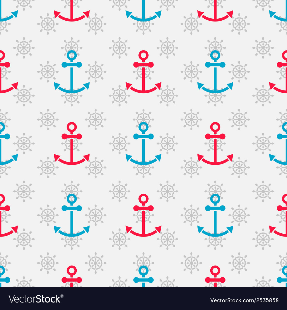 Seamless sea pattern with anchors and hand wheels vector | Price: 1 Credit (USD $1)