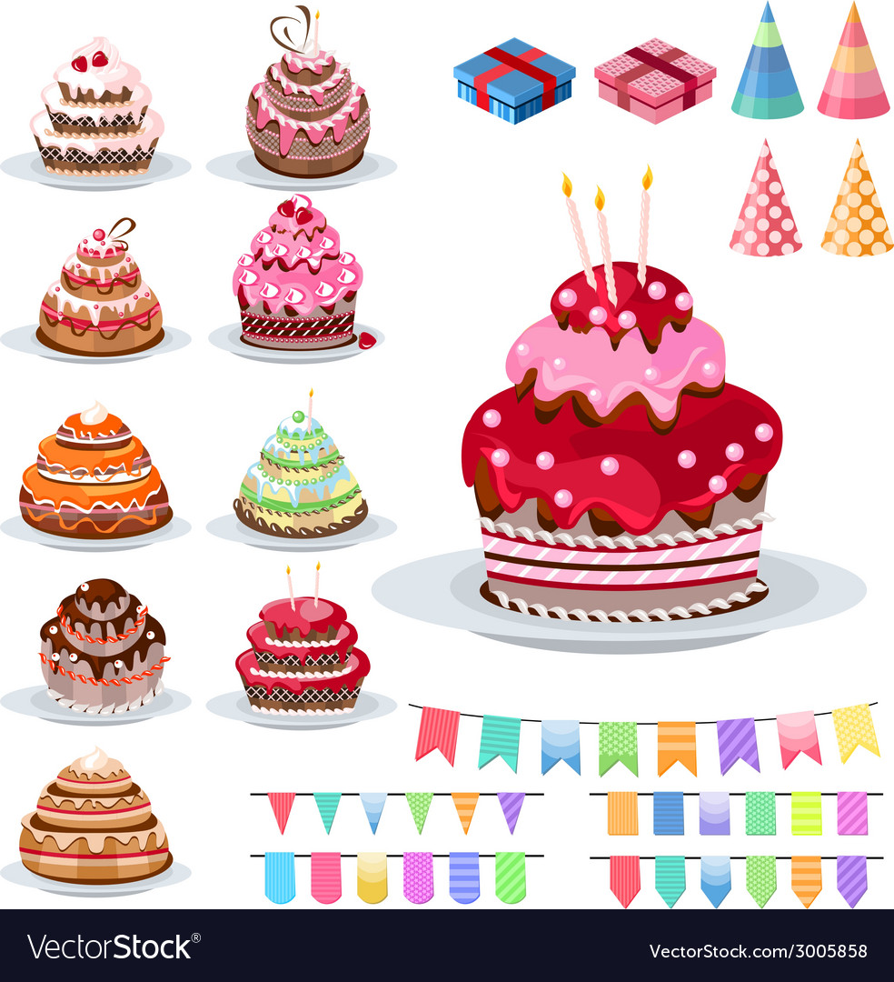 Set with different cakes vector | Price: 1 Credit (USD $1)