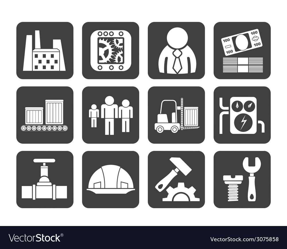 Silhouette factory and mill icons vector | Price: 1 Credit (USD $1)