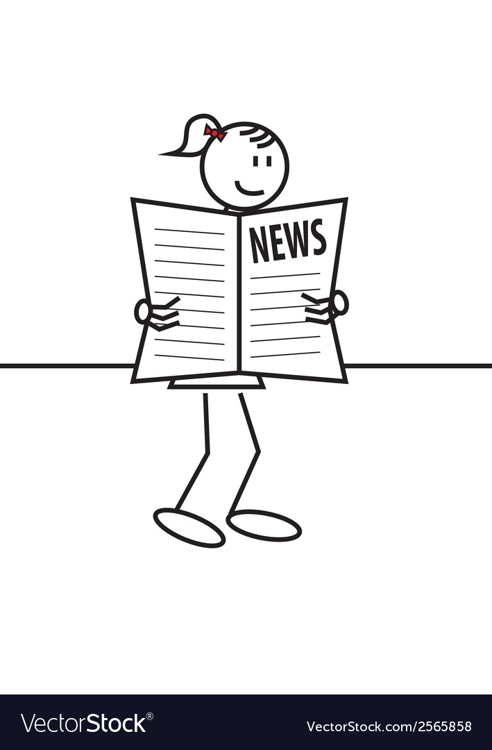 Stick figure female newspaper vector | Price: 1 Credit (USD $1)