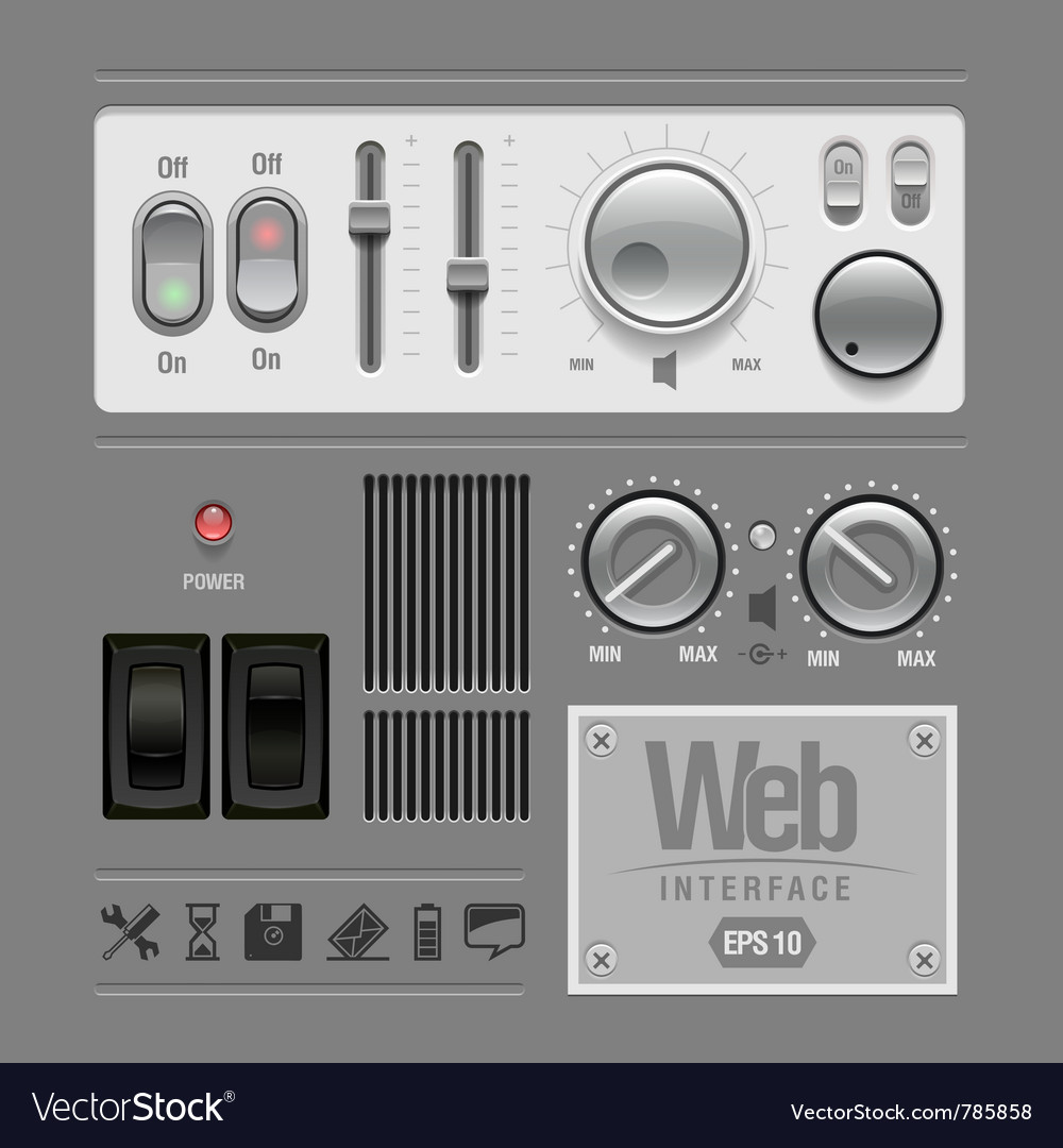 Web ui elements design gray vector | Price: 3 Credit (USD $3)