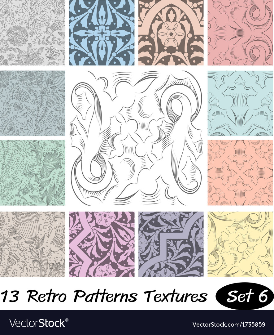 13 retro patterns textures set 6 vector   Price: 1 Credit (USD $1)