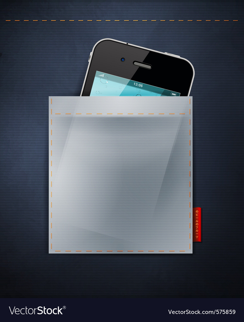 Cell phone in a pocket of jeans vector   Price: 3 Credit (USD $3)