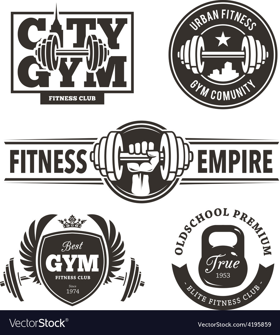 Fitness emblems set vector | Price: 1 Credit (USD $1)