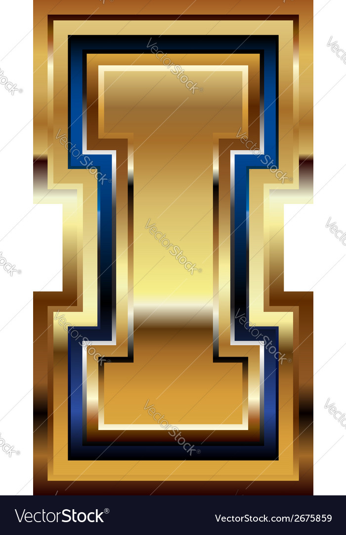 Golden font letter i vector | Price: 1 Credit (USD $1)