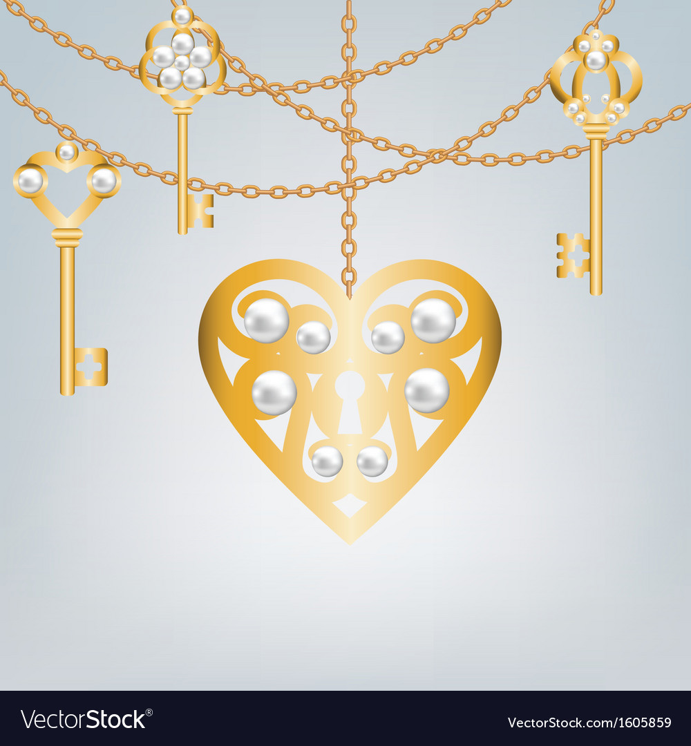 Gray background with pearl gold keys vector | Price: 1 Credit (USD $1)