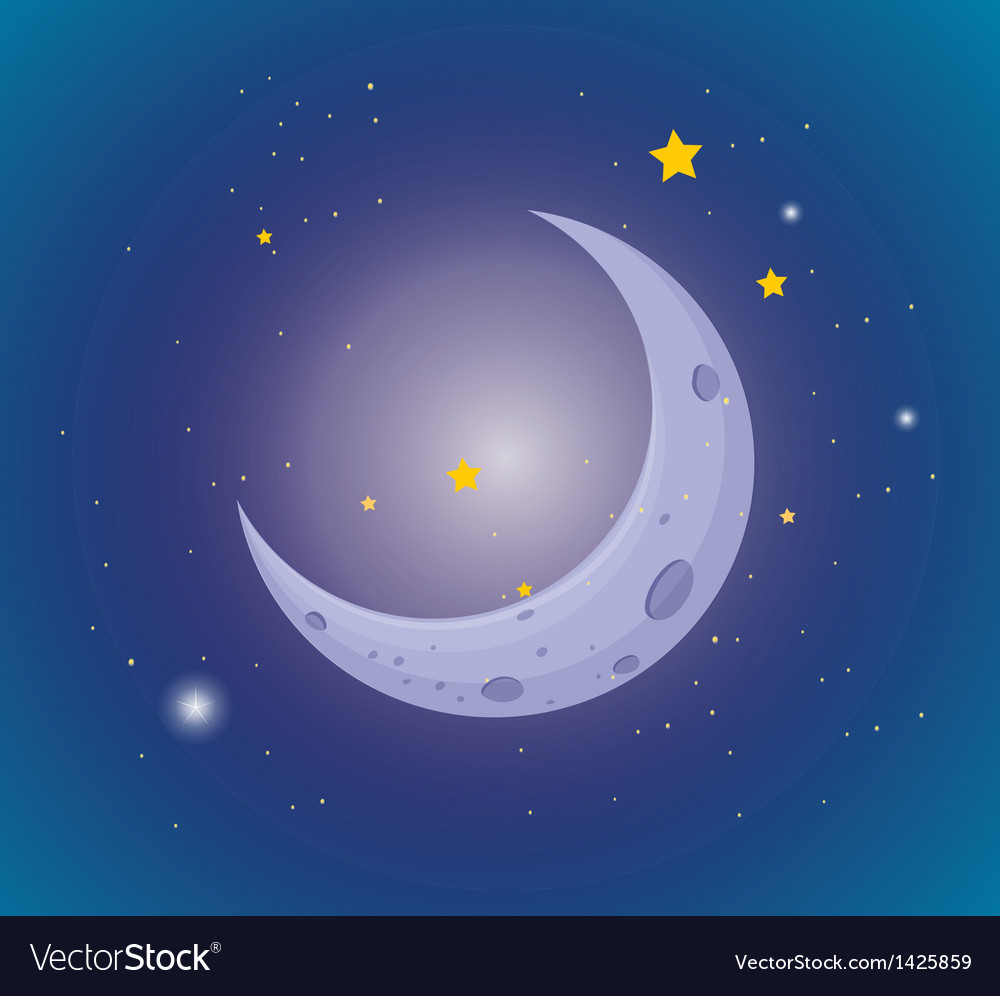 Moon and stars in the sky vector | Price: 1 Credit (USD $1)