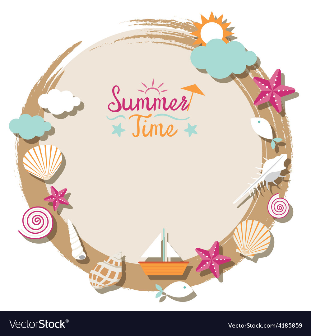 Sea shell and summer objects icons wreath vector | Price: 3 Credit (USD $3)