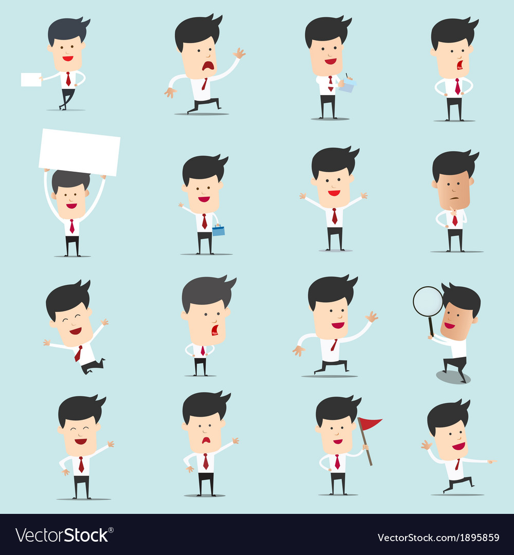 Set of cartoon businessman with many character for vector | Price: 1 Credit (USD $1)