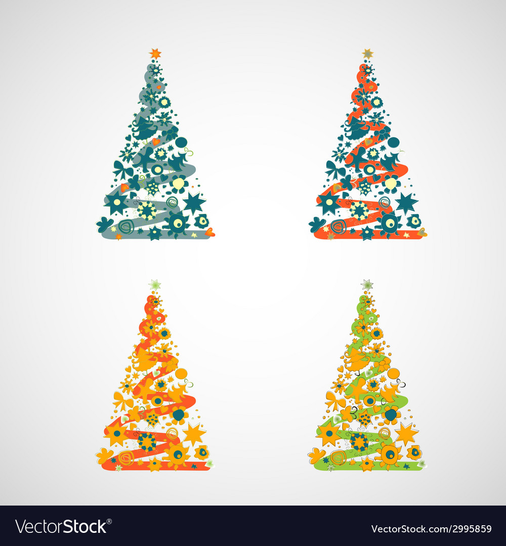 Set of trees on a light background vector | Price: 1 Credit (USD $1)