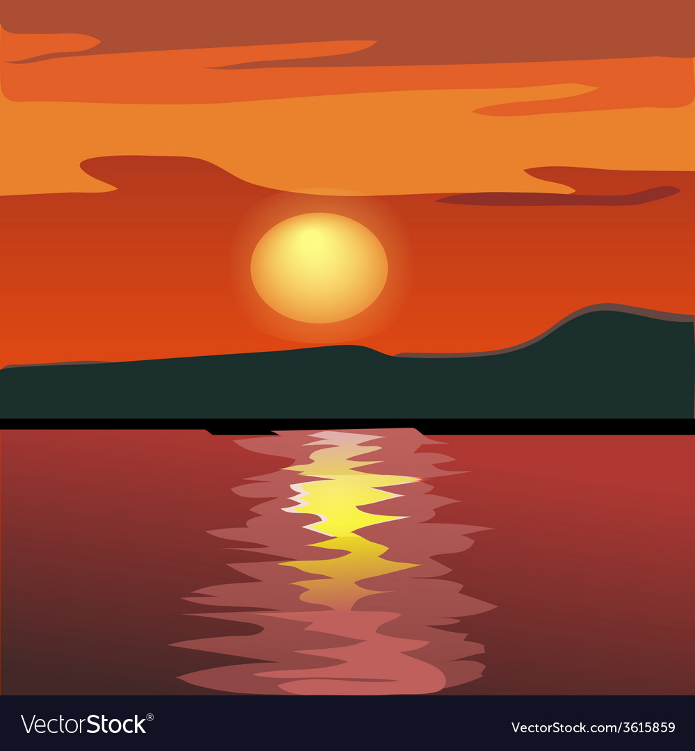 Sunset and mountain silhouette vector | Price: 1 Credit (USD $1)