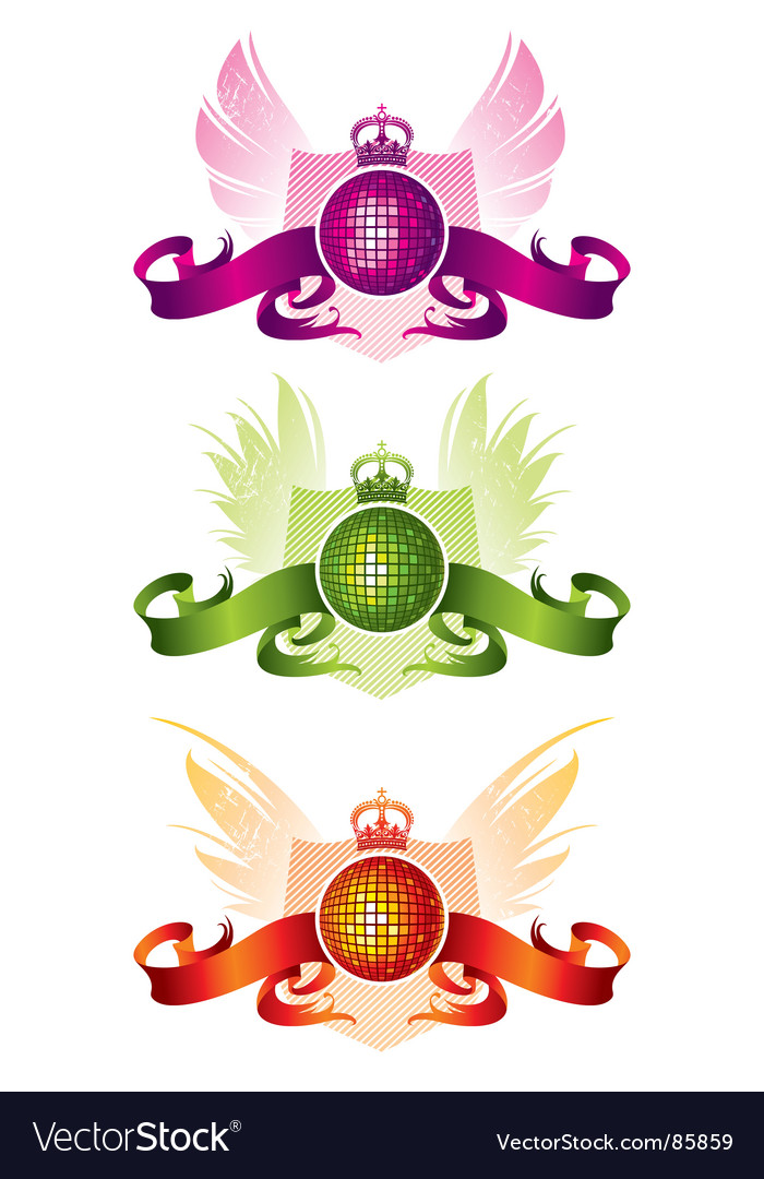 Three disco balls with ribbons vector | Price: 1 Credit (USD $1)
