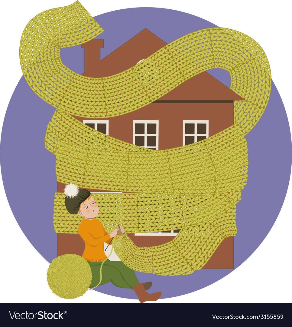 Woman knitting a scarf for a house keeping it warm vector | Price: 1 Credit (USD $1)