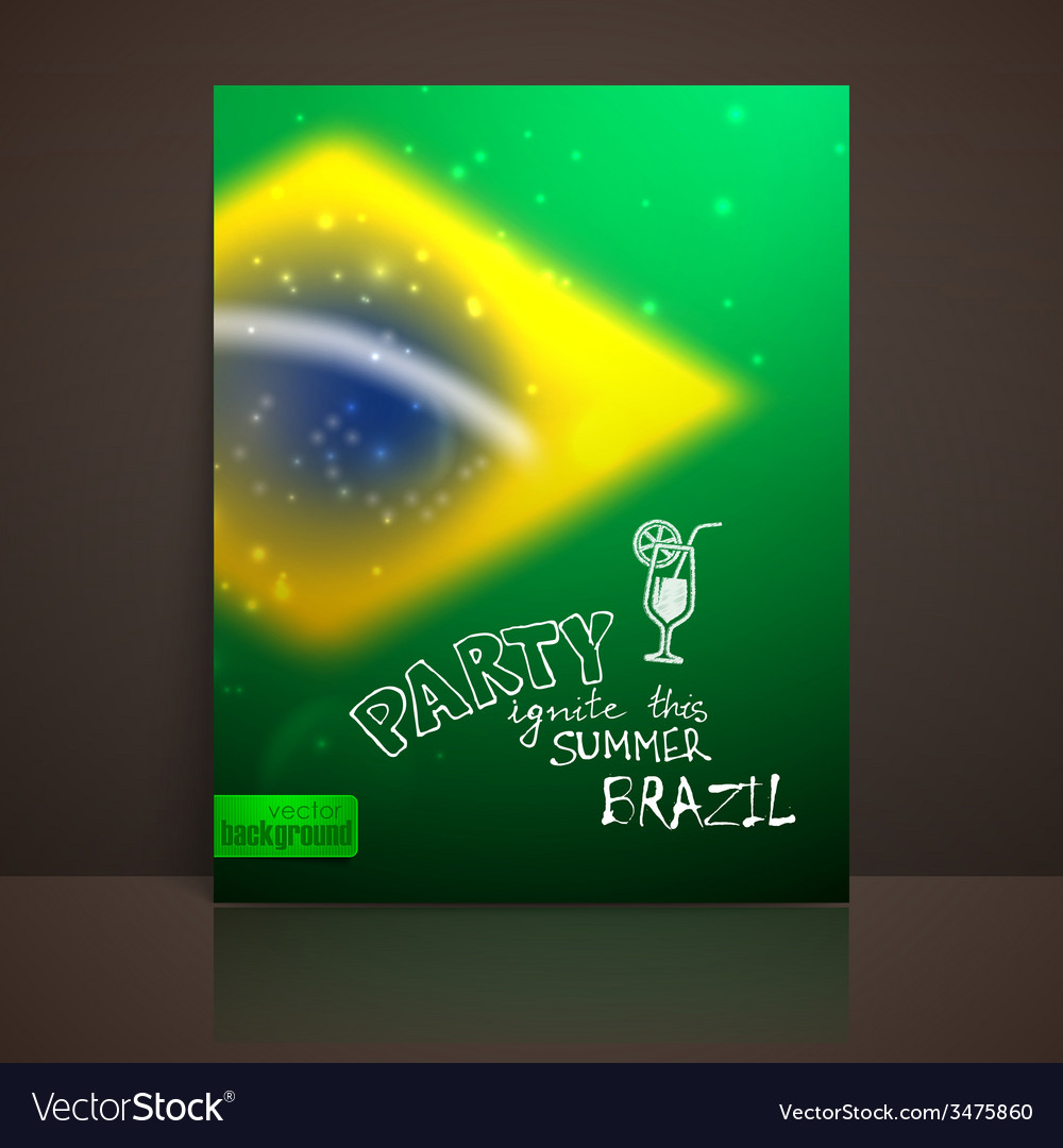 Blurred background with sparkles in brazil flag vector | Price: 1 Credit (USD $1)
