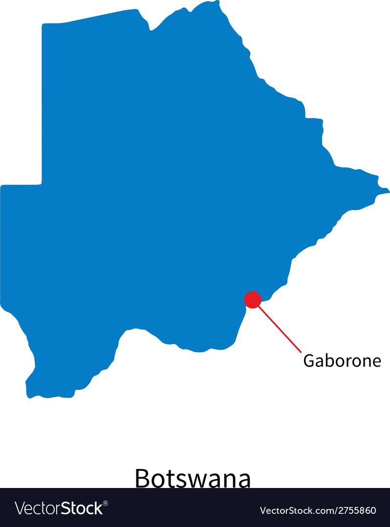 Detailed map of botswana and capital city gaborone vector | Price: 1 Credit (USD $1)