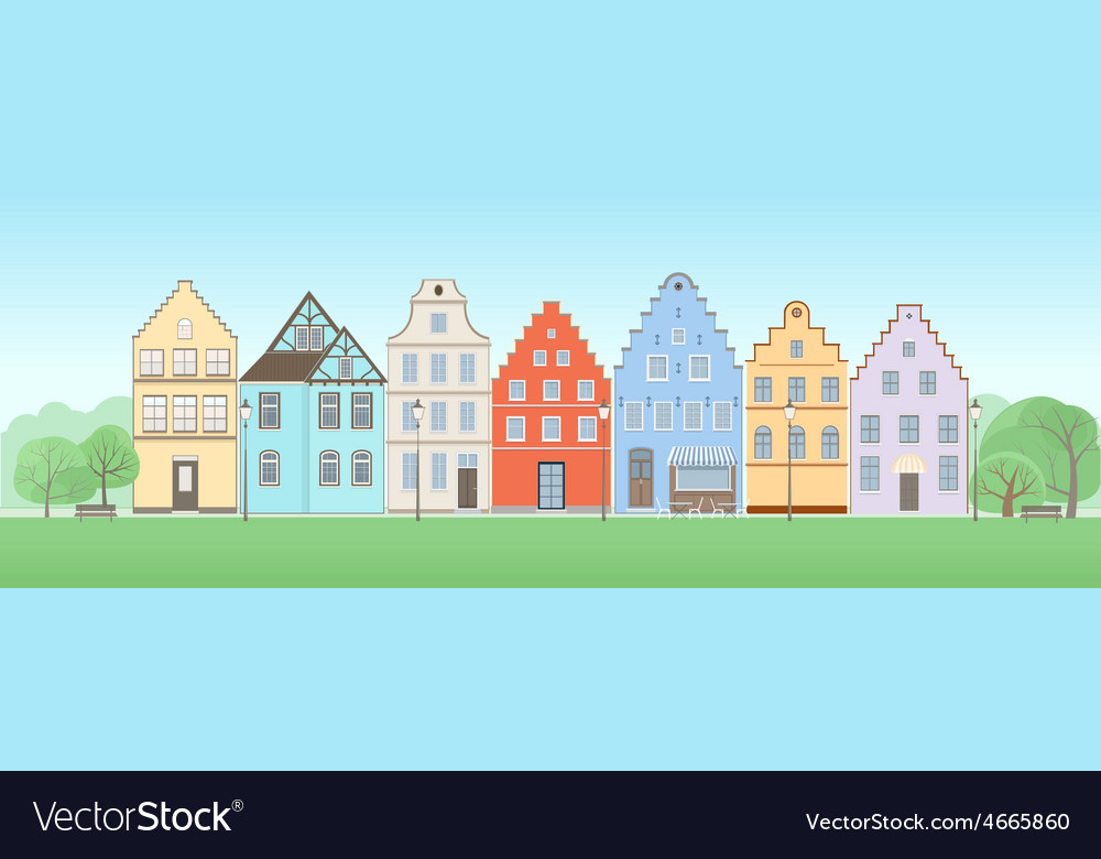 Facade of old houses vector | Price: 1 Credit (USD $1)