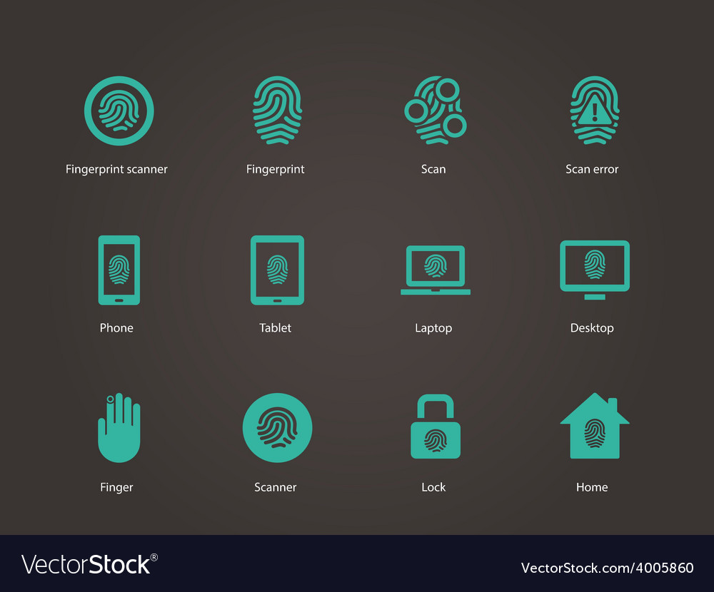 Fingerprint icons vector | Price: 1 Credit (USD $1)