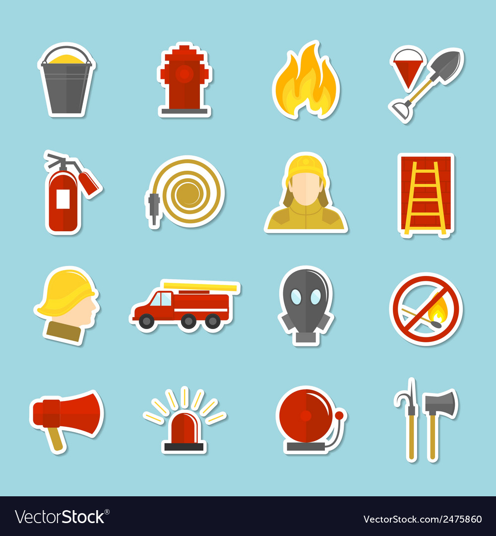 Firefighting icons stickers vector | Price: 1 Credit (USD $1)