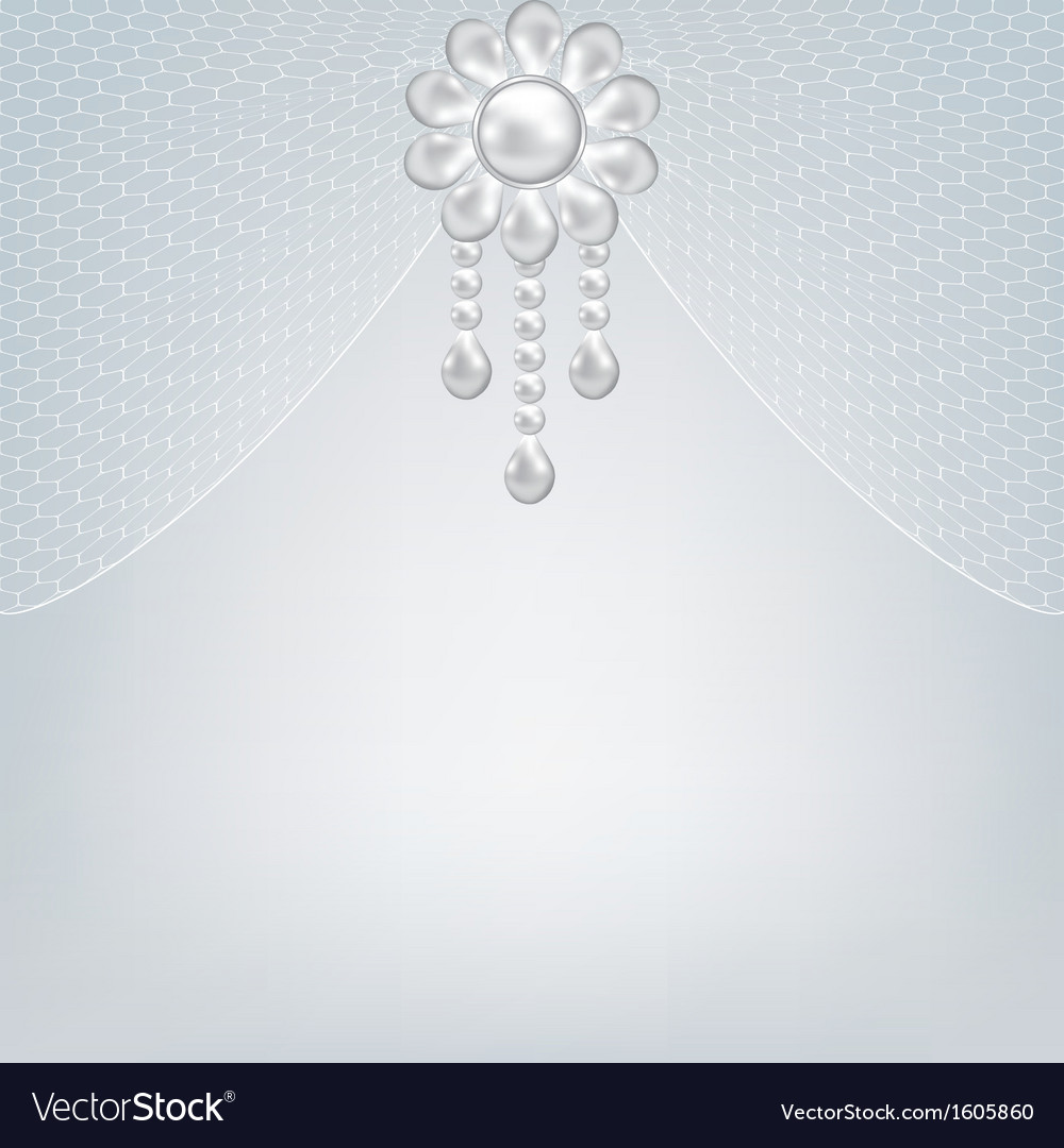 Gray background with pearl jewelry vector | Price: 1 Credit (USD $1)