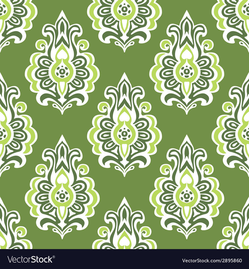 Green vintage seamless retro floral wallpaper vector | Price: 1 Credit (USD $1)