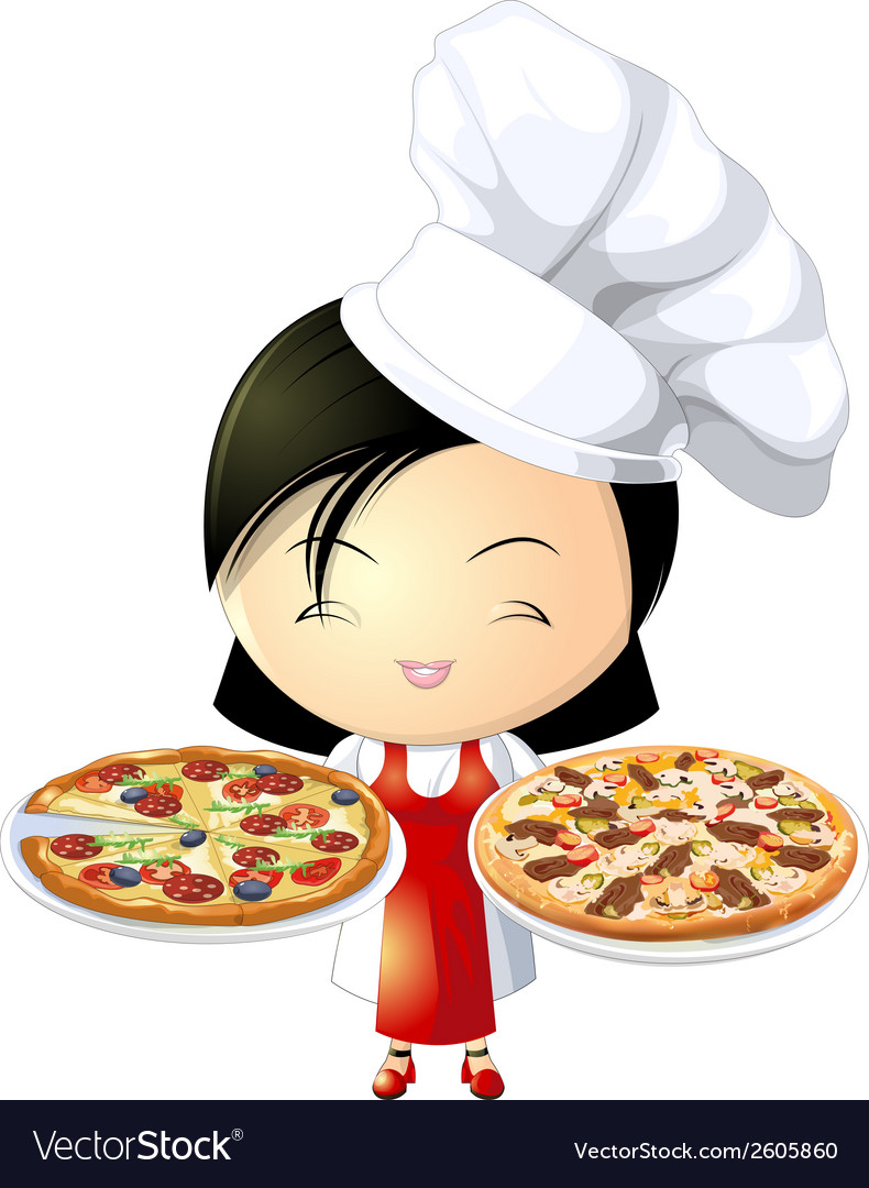 Pizza girl vector | Price: 1 Credit (USD $1)