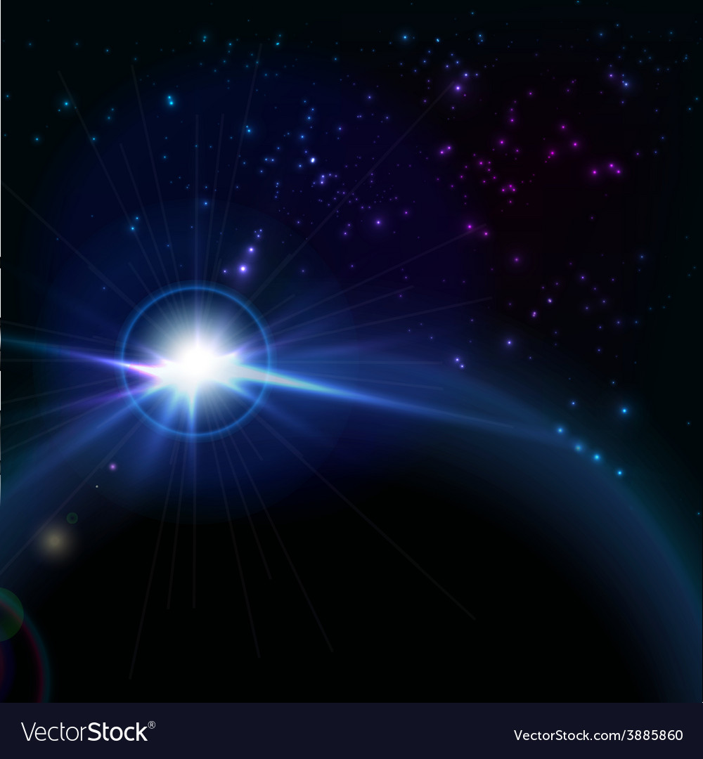 Rising sun over the planet space background vector | Price: 1 Credit (USD $1)
