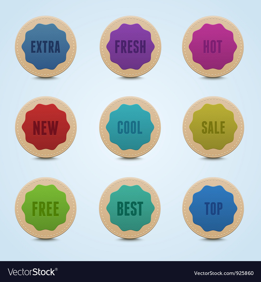 Set of 9 high detailed rounded stickers vector | Price: 1 Credit (USD $1)