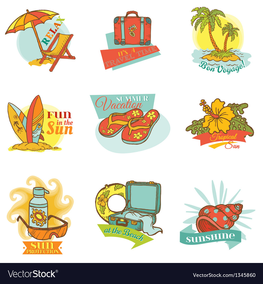 Set of vintage summer labels vector | Price: 3 Credit (USD $3)