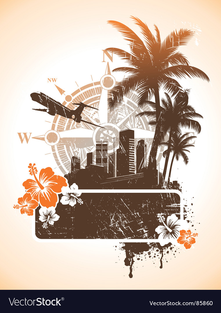 Tourism and travel frame vector | Price: 1 Credit (USD $1)