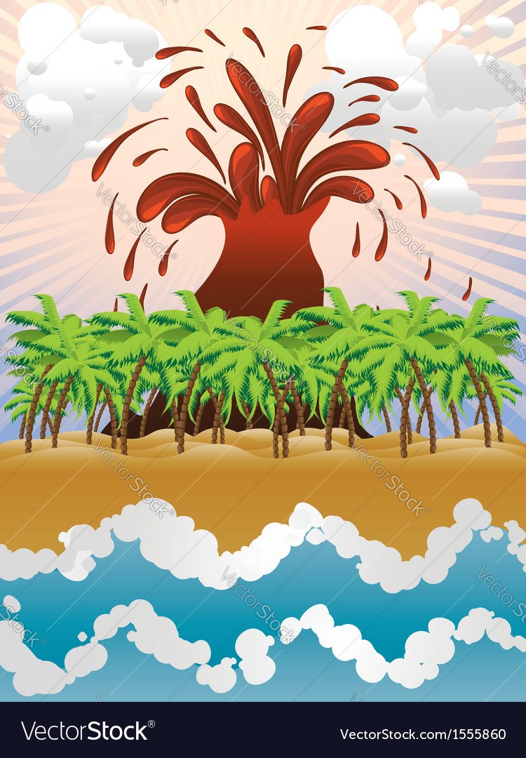Volcano island3 vector | Price: 1 Credit (USD $1)